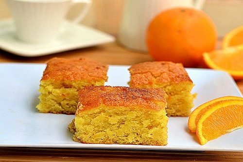 كيكة البرتقال بدون بيض وحليب بالصورة