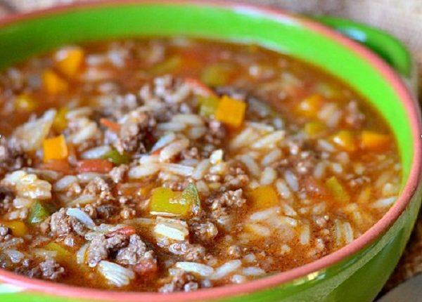 شوربة الأرز باللحم